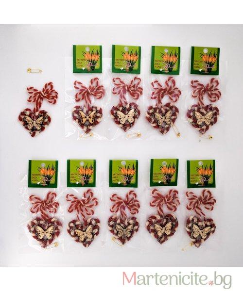 """Мартеница """"Сърце с пеперуда"""" - опаковка 10бр. - модел 541"""