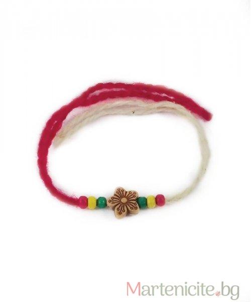Мартеница гривна двуцветна с цвете - опаковка 10бр.