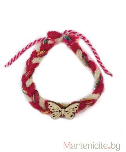 Мартеница гривна цветна с пеперуда - опаковка 10бр.